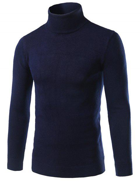 Rib Splicing col roulé à manches longues en coton Blends Sweater - Cadetblue L