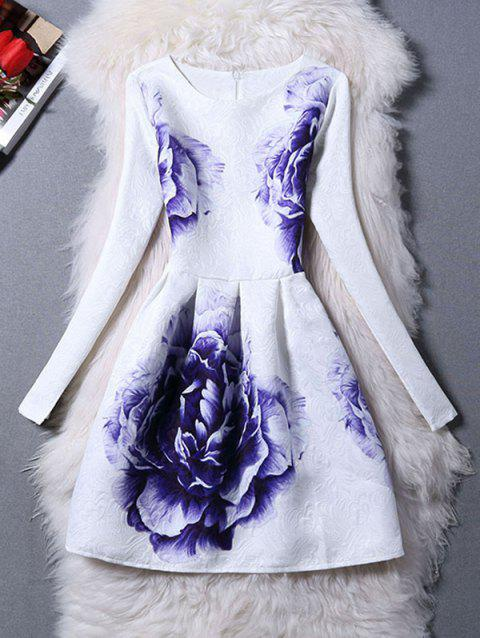 Long Sleeves Jacquard Floral A Line Dress - WHITE S