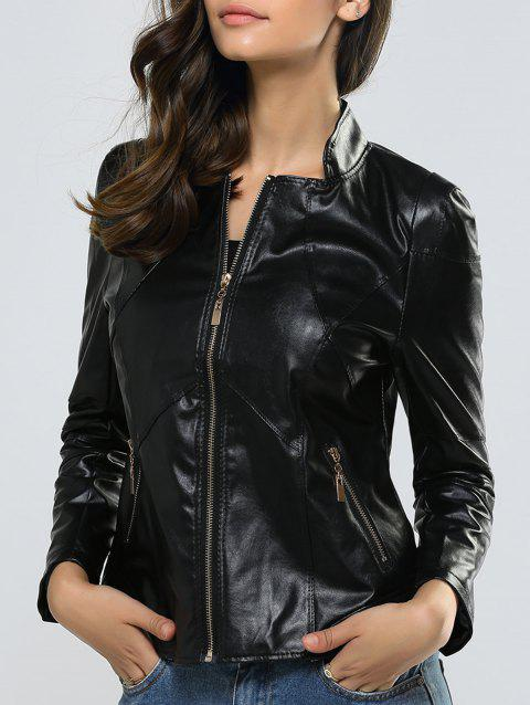 Zipper Slimming Faux Leather Jacket - BLACK 2XL