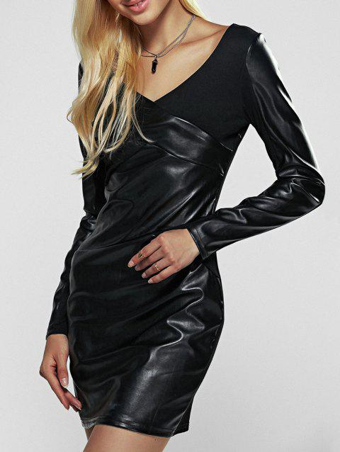 Long Sleeve Faux Leather Sheath Dress - BLACK L