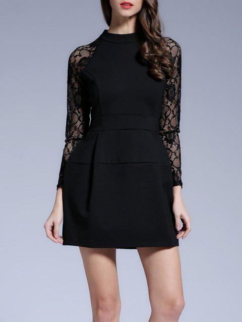Raglan Sleeves Lace See-Through Dress - BLACK M