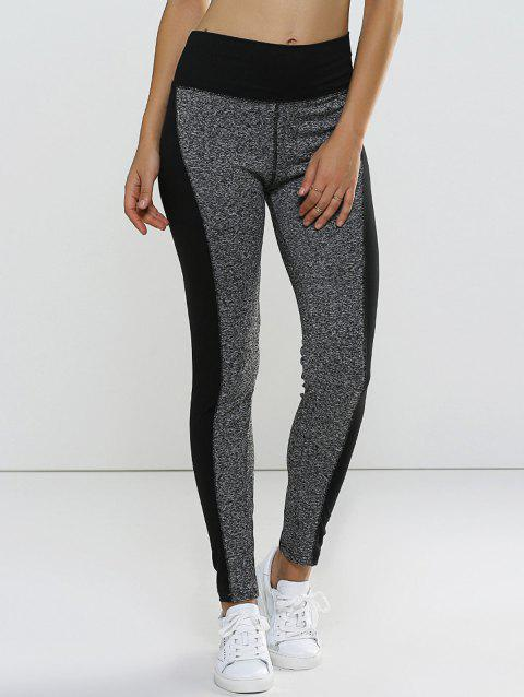Color Block High Waisted Sporty Leggings - GRAY S