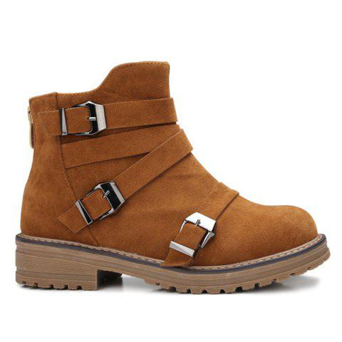 Bottes Zipper Buckles Cross Straps cheville - Brun 39