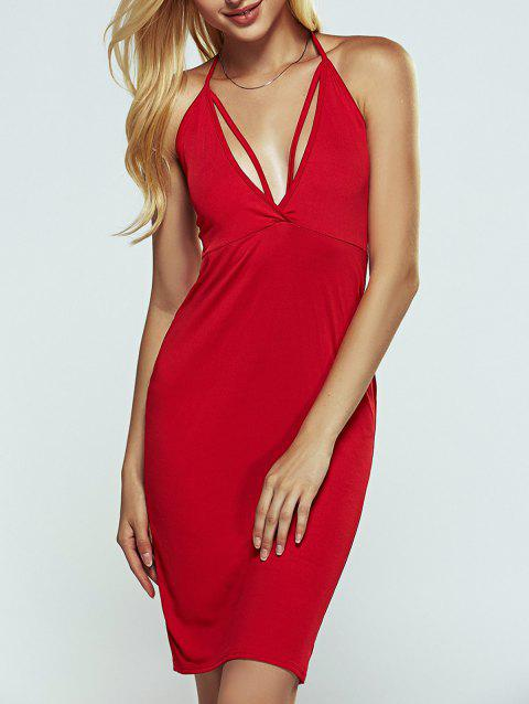 Halter Strappy Open Back Cut Out Bodycon Dress - Rouge L