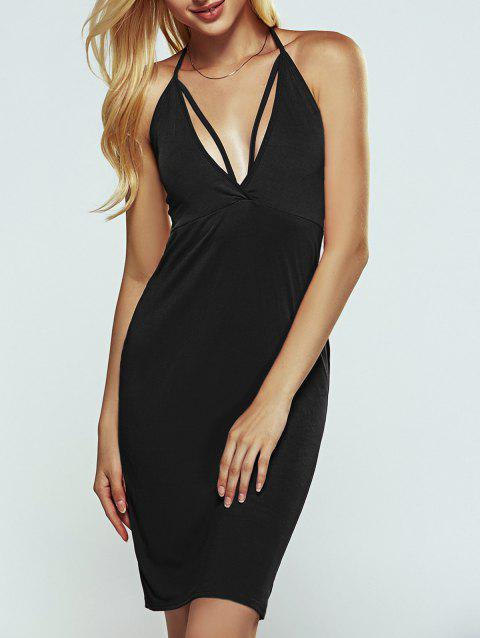 Halter Strappy Open Back Cut Out Bodycon Dress - BLACK M