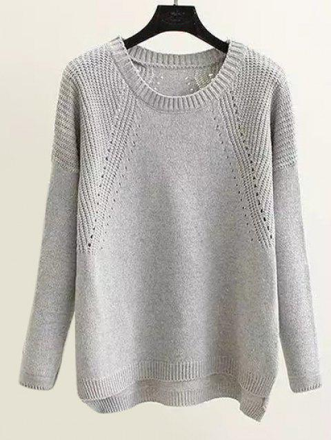Loose Openwork  High Low Hem Sweater - GRAY ONE SIZE