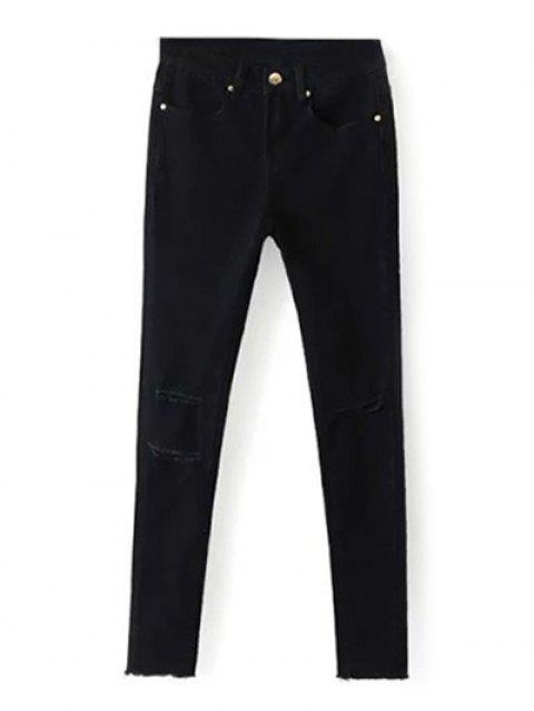 Ripped Distressed Wash Pencil Jeans - Noir 28