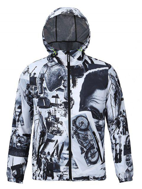 3D Vintage Pattern Spliced Print Hooded Zip-Up Jacket - COLORMIX 2XL