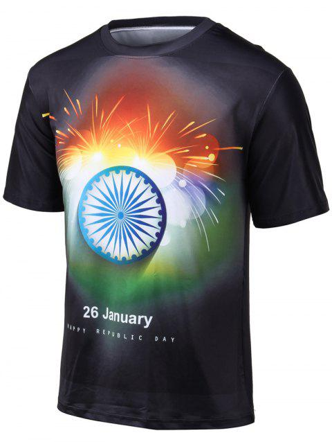 Plus Size Colorful Fireworks Print Round Neck Short Sleeve T-Shirt - BLACK 2XL