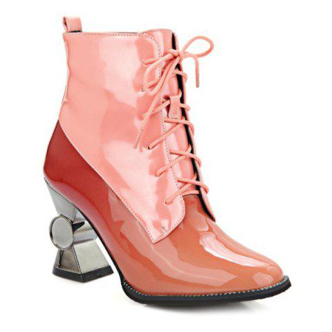 Color Block Tie Up brevets Bottines en cuir - Rose 37