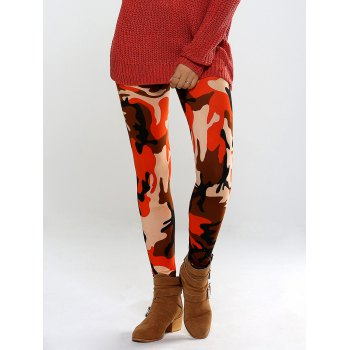 Colorful Camo Print High Waisted Leggings Pants