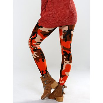 Colorful Camo Print High Waisted Leggings Pants - ORANGE ONE SIZE