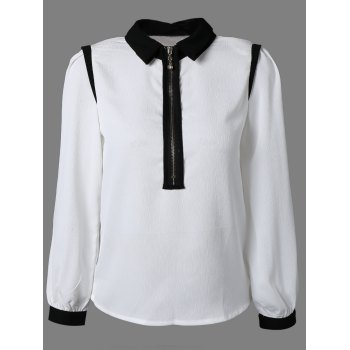 Front Zip Up Long Sleeve Chiffon Shirt