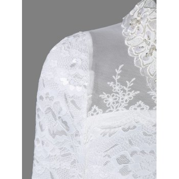 Flat Collar Rhinestone Mesh Spliced Translucent Lace Blouse - XL XL