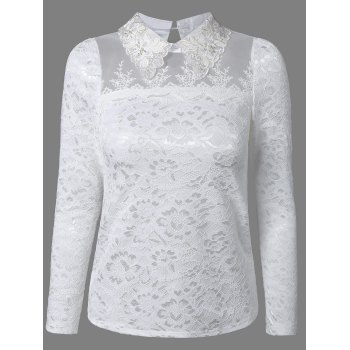Flat Collar Rhinestone Mesh Spliced Translucent Lace Blouse - WHITE XL