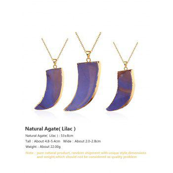 Natural Shape Agate Horn Pendant Necklace - LIGHT PURPLE