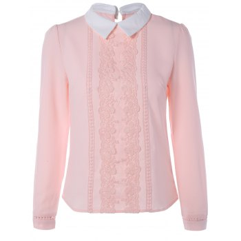 Long Sleeve Lace Floral Embroidered Chiffon Formal Shirt - PINK S