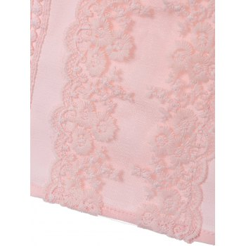 Long Sleeve Lace Floral Embroidered Chiffon Formal Shirt - S S