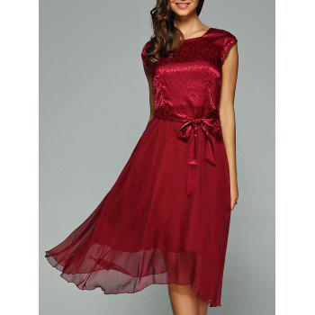 Elegant Jacquard Bowknot Dress For Women