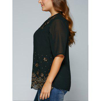 See-Through V Neck Rhinestone Blouse - XL XL