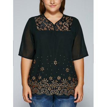 See-Through V Neck Rhinestone Blouse - BLACK XL