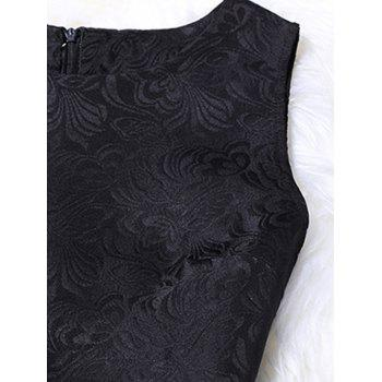 Sleeveless Floral Print Jacquard A-Line Dress - BLACK S