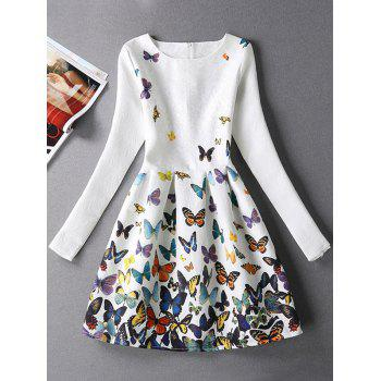 Jacquard Butterfly Skater Dress with Sleeves