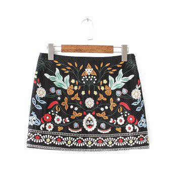 Embroidered Floral A-Line Skirt