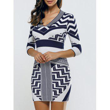 V Neck Chervon  Bodycon Sweater Dress
