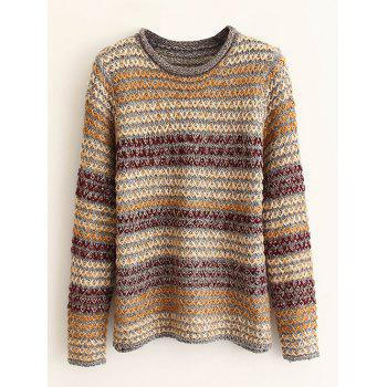 Round Neck Striped Knitted Pullover