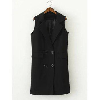 Faux Pocket Double-Breasted Vest