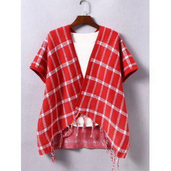 Fringed Plaid Collarless Cape Cardigan