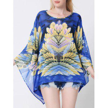 Floral Batwing Sleeve Cape Blouse