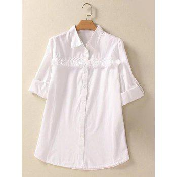 Buttoned Fringed Hemming Sleeves Shirt - WHITE 3XL