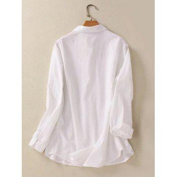 Buttoned Fringed Hemming Sleeves Shirt - WHITE WHITE