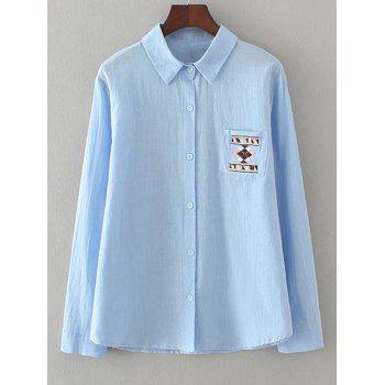 Geometric Embroidery Loose Shirt - LIGHT BLUE 4XL