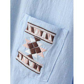 Geometric Embroidery Loose Shirt - WHITE WHITE