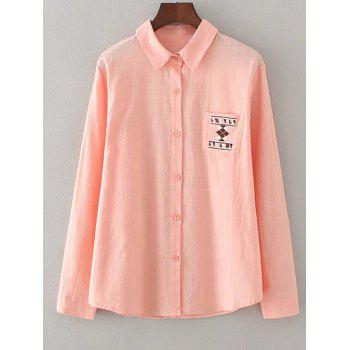 Geometric Embroidery Loose Shirt - SHALLOW PINK 3XL