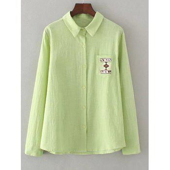 Geometric Embroidery Loose Shirt - GRASS GREEN GRASS GREEN