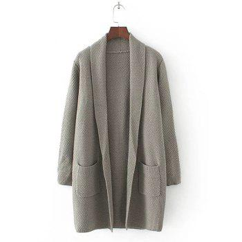 Long Sleeve Double Pockets Textured Long Knit Cardigan