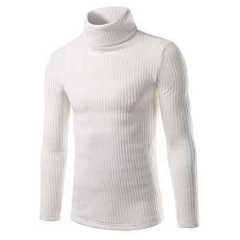 Vertical Rib Turtle Neck Long Sleeve Sweater