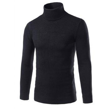 Rib Splicing Turtle Neck Long Sleeve Cotton Blends Sweater