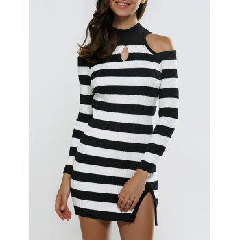 Keyhole Open Shoulder Slit Stripe Sweater Dress