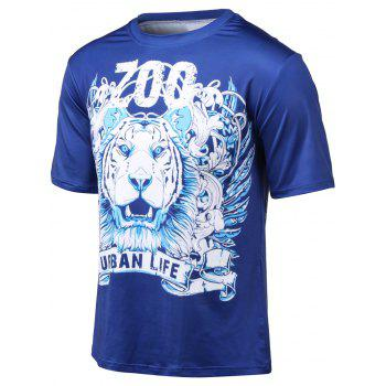 Plus Size Tiger and Letter Print Round Neck Short Sleeve T-Shirt