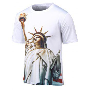 Plus Size 3D Statue of Liberty Print Round Neck Short Sleeve T-Shirt