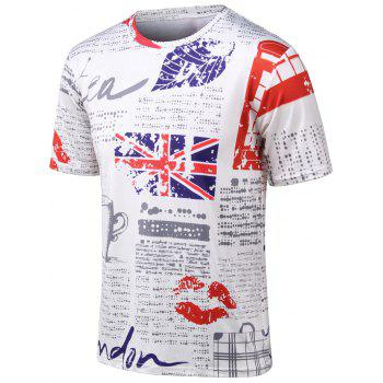 Plus Size Union Jack and Lip Print Round Neck Short Sleeve T-Shirt