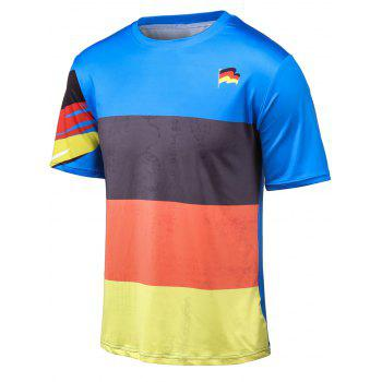 Plus Size Color Block Splicing Flag Print Round Neck Short Sleeve T-Shirt