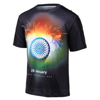 Plus Size Colorful Fireworks Print Round Neck Short Sleeve T-Shirt