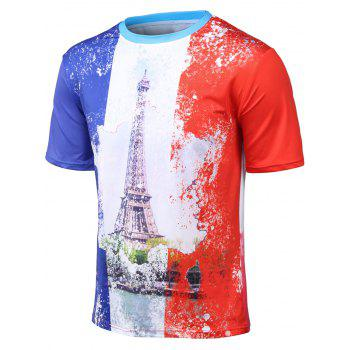 Plus Size 3D Watercolor Iron Tower Print Round Neck Short Sleeve T-Shirt