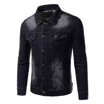 Camouflage Hemming Plus Size Turn-Down Collar Single-Breasted Denim Jacket